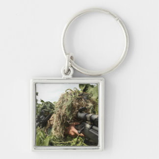 Soldiers dressed in ghillie suits keychain