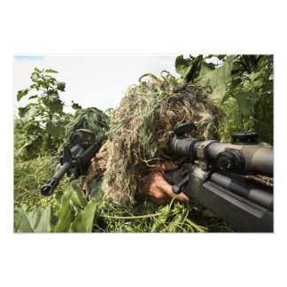Soldiers dressed in ghillie suits photo print