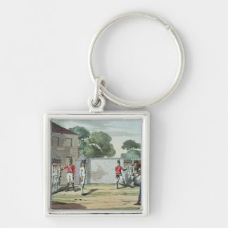 Soldiers Drilling, 1807 Silver-Colored Square Keychain