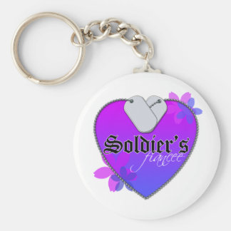 Soldier's Fiancee Heart Shaped Military Dog Tags Basic Round Button Keychain