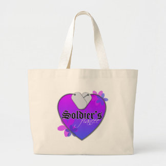 Soldier's Fiancee Heart Shaped Military Dog Tags Large Tote Bag