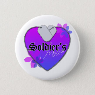 Soldier's Fiancee Heart Shaped Military Dog Tags Pinback Button