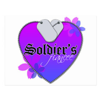 Soldier's Fiancee Heart Shaped Military Dog Tags Postcard