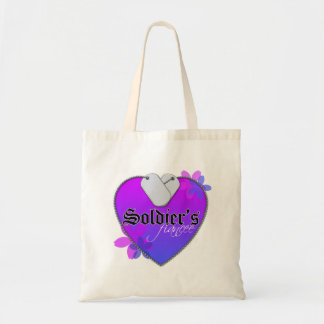 Soldier's Fiancee Heart Shaped Military Dog Tags Tote Bag