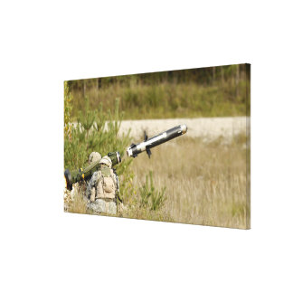 soldiers firing an FGM-148 Javelin Gallery Wrapped Canvas