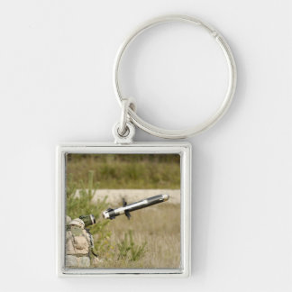soldiers firing an FGM-148 Javelin Silver-Colored Square Keychain