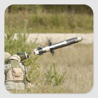 soldiers firing an FGM-148 Javelin Square Sticker