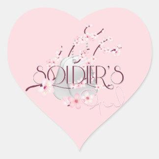 Soldier's Girl (Cherry Blossom) Heart Sticker
