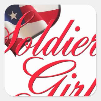 soldier's girl square sticker