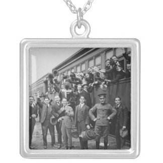Soldiers Headed to Camp Upton During World War I Square Pendant Necklace