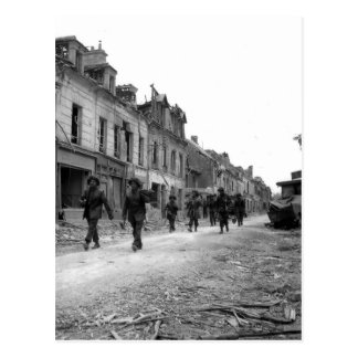 Soldiers in Caen Postcard