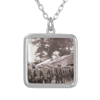 Soldiers in Line for Mail Silver Plated Necklace