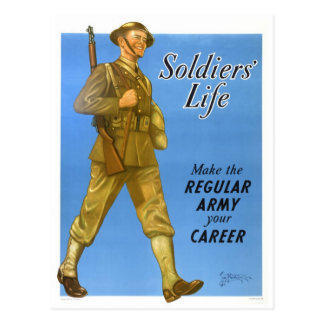 SOLDIERS LIFE POSTCARD
