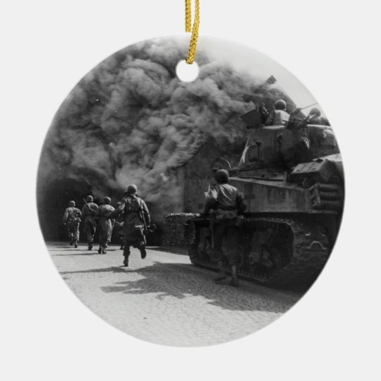 Soldiers of the 55th Armored Infantry World War II Ceramic Ornament