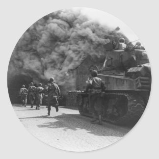 Soldiers of the 55th Armored Infantry World War II Classic Round Sticker