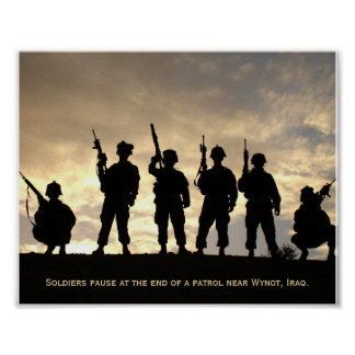 Soldiers on Patrol Silhouette Against the Sky Poster
