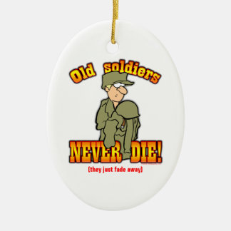 Soldiers Double-Sided Oval Ceramic Christmas Ornament