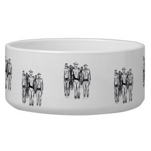 Soldiers Pen and Ink Abstract sketch Dog Bowl