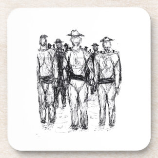 Soldiers Pen and Ink Abstract sketch Drink Coaster
