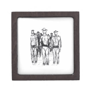 Soldiers Pen and Ink Abstract sketch Jewelry Box