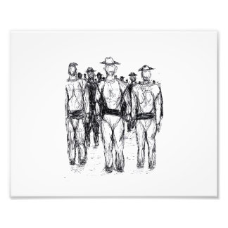 Soldiers Pen and Ink Abstract sketch Photograph