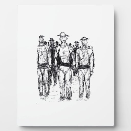 Soldiers Pen and Ink Abstract sketch Plaques