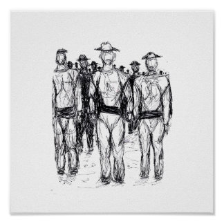 Soldiers Pen and Ink Abstract sketch Posters