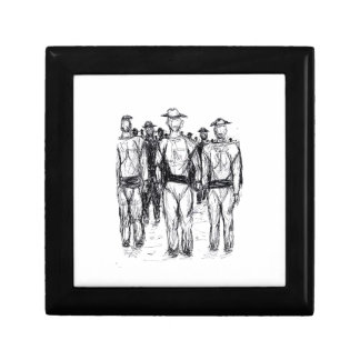 Soldiers Pen and Ink Abstract sketch Trinket Box