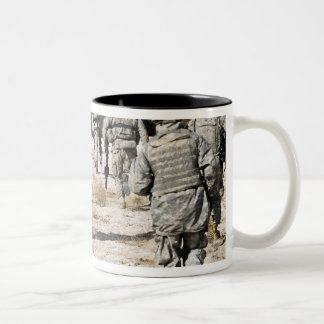 soldiers respond to a small arms attack Two-Tone coffee mug