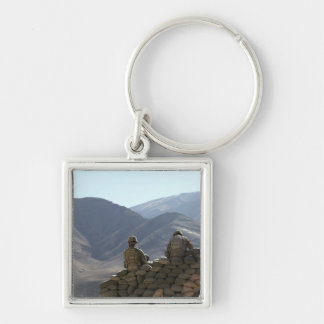 soldiers run communications equipment Silver-Colored square keychain
