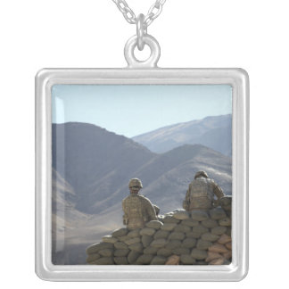 soldiers run communications equipment square pendant necklace