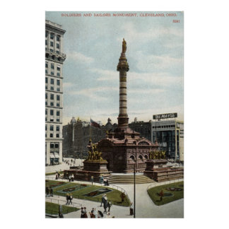 Soldiers & Sailors Monument Cleveland 1910 Vintage Poster
