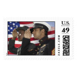 soldiers saluting stamp