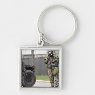 Soldiers stand guard at an intersection keychain