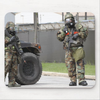 Soldiers stand guard at an intersection mouse pad