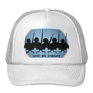 Soldiers Tribute Caps War Peace Lest We Forget Mesh Hat