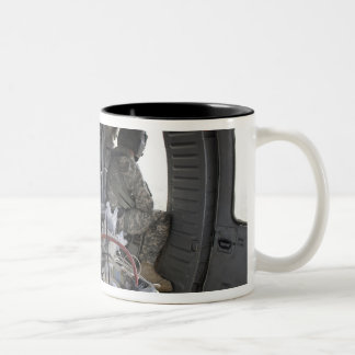 soldiers watch for hazards Two-Tone coffee mug