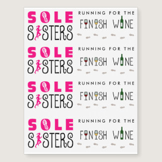 Sole Sisters Running for the Finish Wine Temporary Tattoos