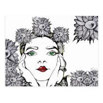 artsprojekt, nature, soleil, portrait, flower, fantasy, girl, doodle, art, Postcard with custom graphic design