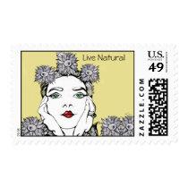 artsprojekt, nature, soleil, portrait, flower, fantasy, girl, doodle, art, Stamp with custom graphic design