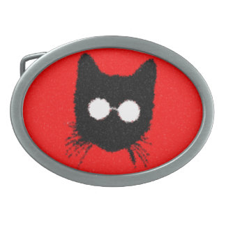 Solemn Hipster Cat with Glasses Silhouette Belt Buckle