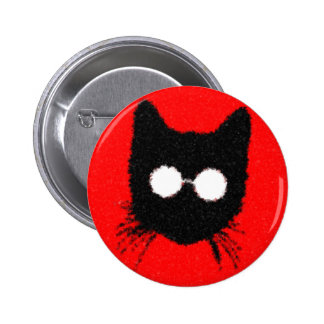 Solemn Hipster Cat with Glasses Silhouette Button