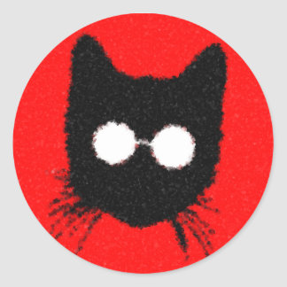 Solemn Hipster Cat with Glasses Silhouette Classic Round Sticker