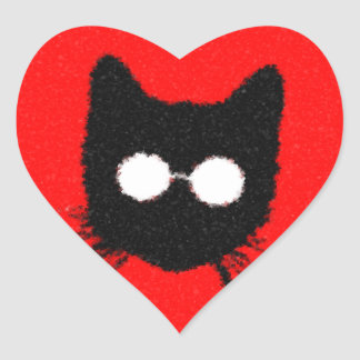 Solemn Hipster Cat with Glasses Silhouette Heart Sticker