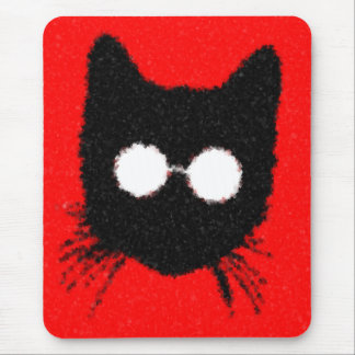 Solemn Hipster Cat with Glasses Silhouette Mouse Pad