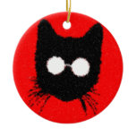 Solemn Hipster Cat with Glasses Silhouette Double-Sided Ceramic Round Christmas Ornament