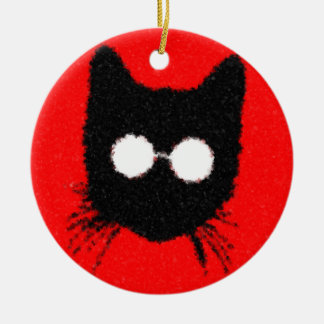 Solemn Hipster Cat with Glasses Silhouette Round Ceramic Decoration