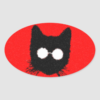 Solemn Hipster Cat with Glasses Silhouette Oval Sticker