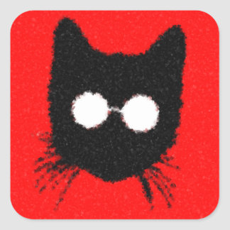 Solemn Hipster Cat with Glasses Silhouette Square Sticker