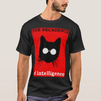 Solemn Hipster Cat with Glasses Silhouette T-Shirt